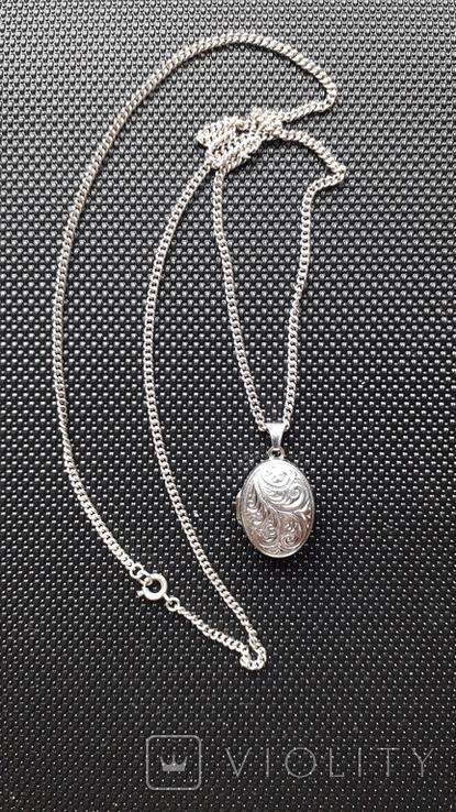 Срібний локет на ланцюжку, фото №2
