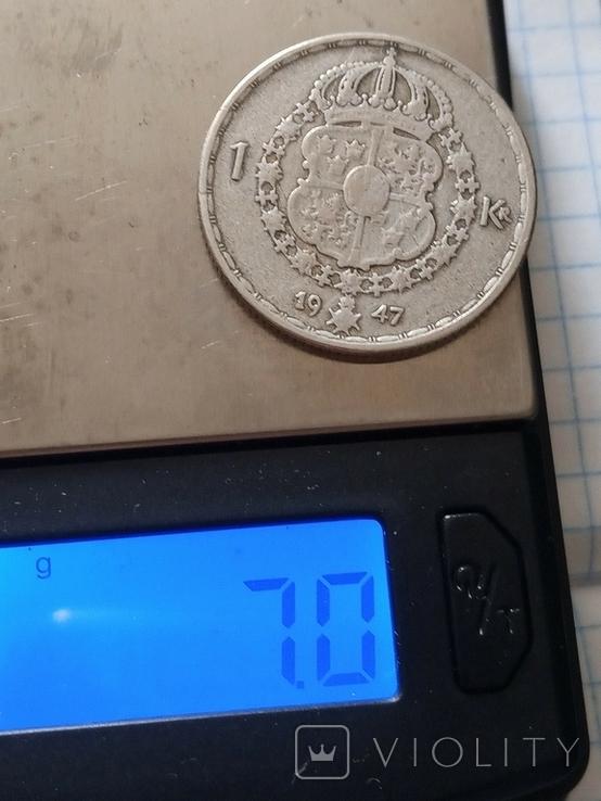 1 крона 1947 Швеція срібло, фото №3