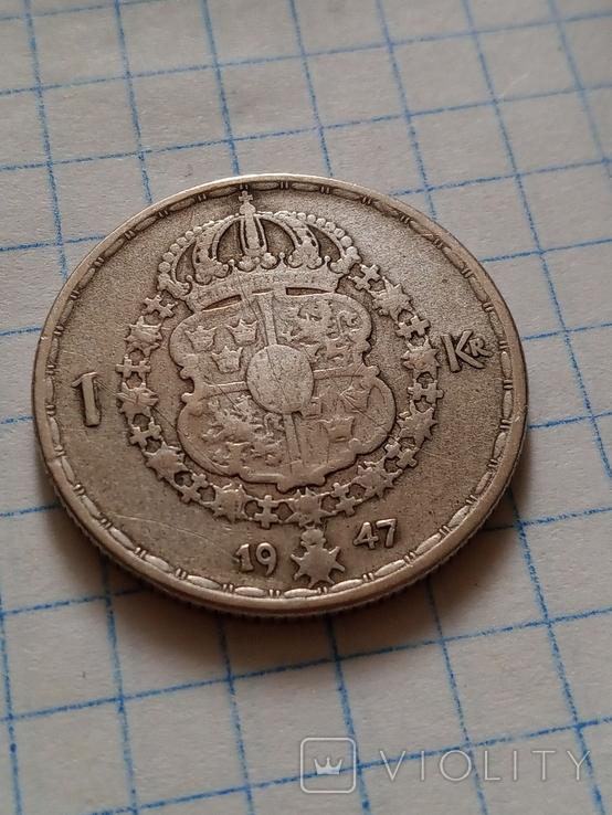 1 крона 1947 Швеція срібло, фото №6