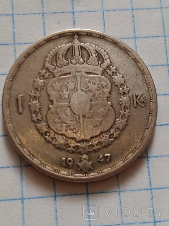 1 крона 1947 Швеція срібло, фото №7