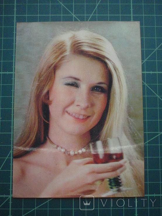 Стерео открытка времен СССР. Девушка., фото №2