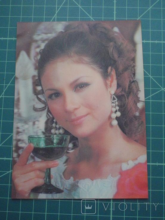 Стерео открытка времен СССР. Девушка. 2, фото №2