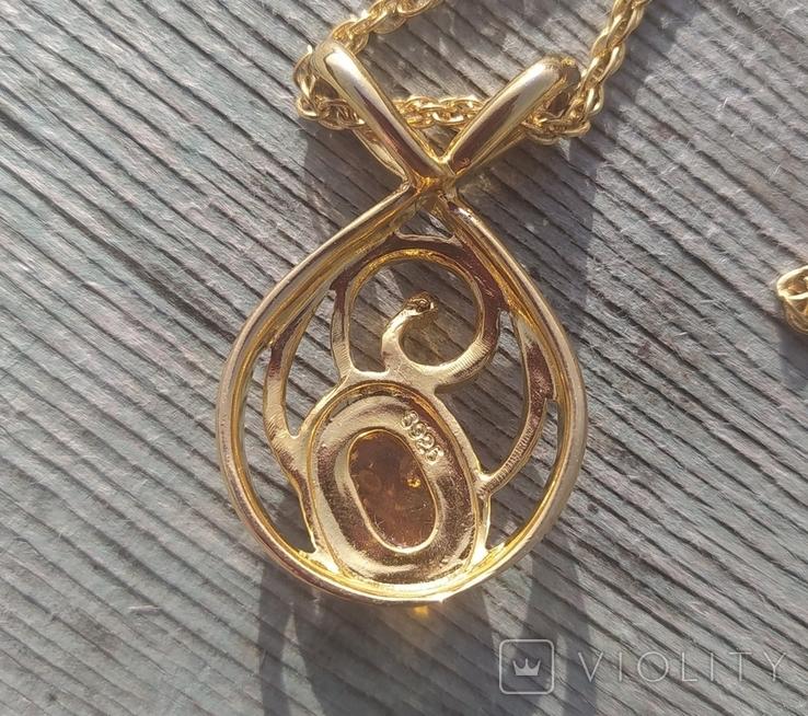 Кулон с янтарем и бриллиантом, серебро 925., фото №4