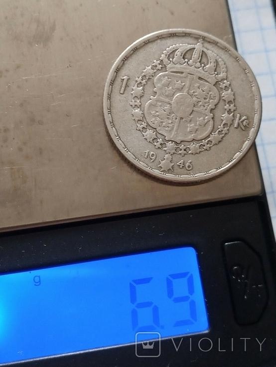 1 крона 1946 Швеція срібло, фото №3