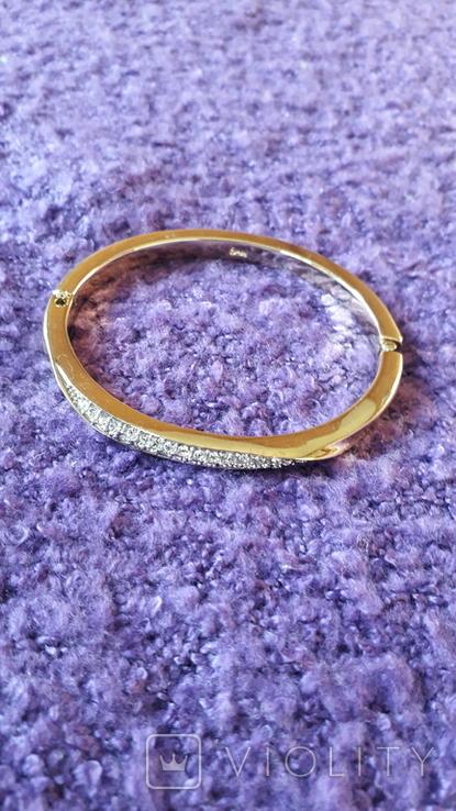 Браслет золотого тону з кристалами MS, фото №3