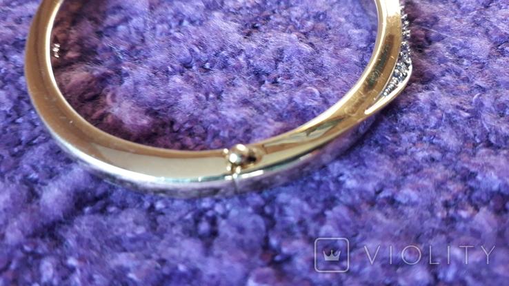 Браслет золотого тону з кристалами MS, фото №6