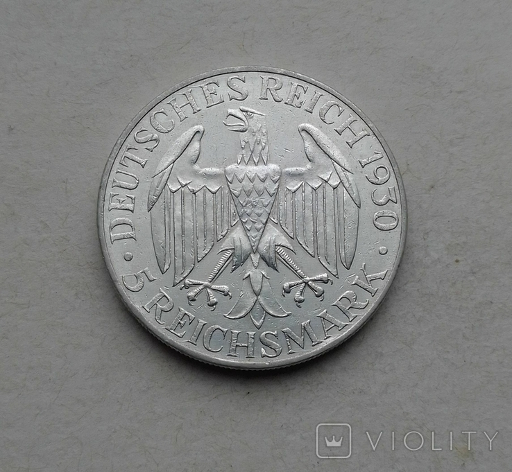 1930 г - 5 марок Германии,Цеппелин,серебро, фото №5