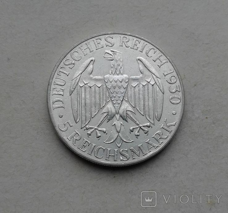 1930 г - 5 марок Германии,Цеппелин,серебро, фото №10