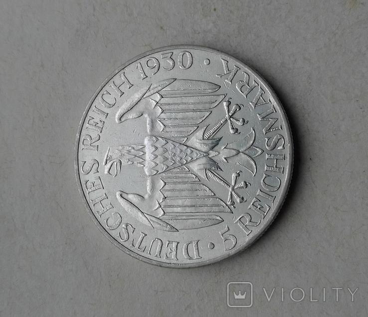1930 г - 5 марок Германии,Цеппелин,серебро, фото №11