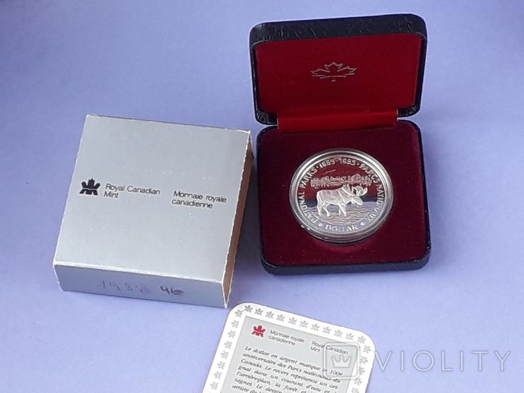 1 доллар, Канада, 1985 год, 100 лет Национальным паркам, серебро, в подарочной коробке, фото №2