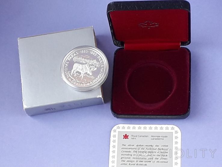 1 доллар, Канада, 1985 год, 100 лет Национальным паркам, серебро, в подарочной коробке, фото №3