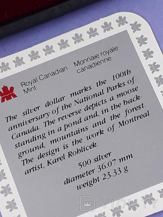 1 доллар, Канада, 1985 год, 100 лет Национальным паркам, серебро, в подарочной коробке, фото №4