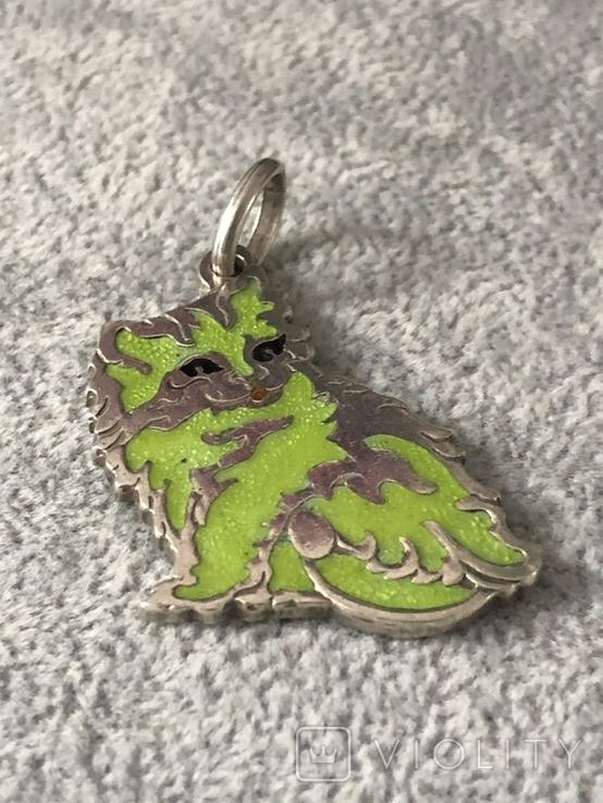 Серебряная подвеска Персидская кошка в эмалях (серебро 800 пр, вес 10,9 гр), фото №6