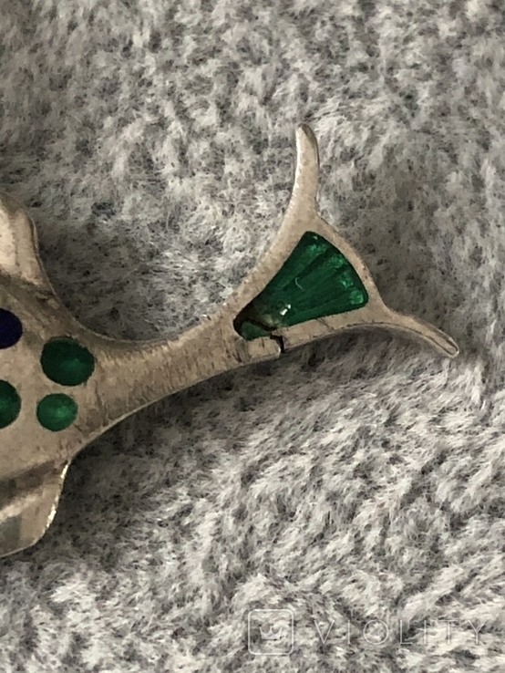 Серебряная подвеска Рыбка в эмалях (серебро 925 пр, вес 6,6 гр), фото №3