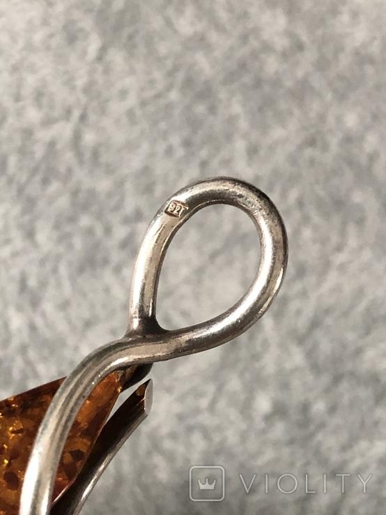 Серебряный кулон с янтарем (серебро 925 пр, вес 7,7 гр), фото №5