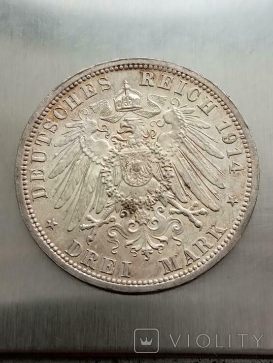 3 марки 1914 г. Вильгельм II, фото №3