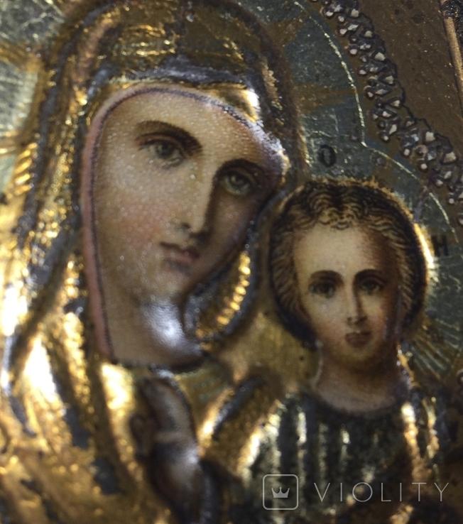 Икона Казанской Божией Матери хромолитография (~ Жако, Москва 1894), фото №3