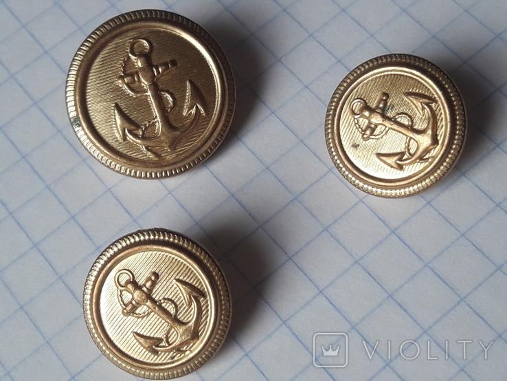 Пуговицы с якорем металл, 19 и 14 мм, фото №4
