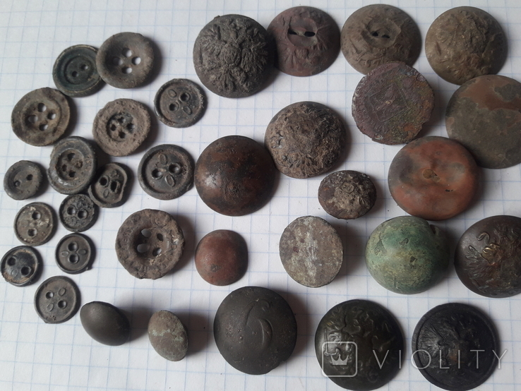 Пуговицы РИА и старинные, бронза сплав и т.д., 34 шт, фото №2