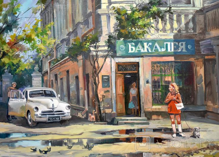 Картина, масло, холст, Дева и такси. Одесса 55х75 Автор Сергей Тюпо, фото №6