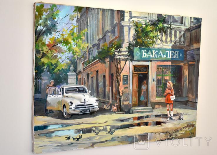 Картина, масло, холст, Дева и такси. Одесса 55х75 Автор Сергей Тюпо, фото №7