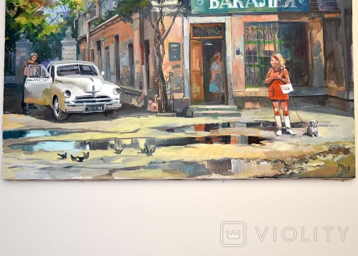 Картина, масло, холст, Дева и такси. Одесса 55х75 Автор Сергей Тюпо, фото №9