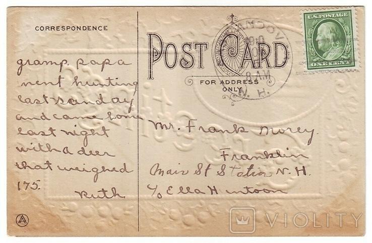 Старинная поздравительная с тиснением. Пейзаж, цветы. П/п 1910 г., фото №3