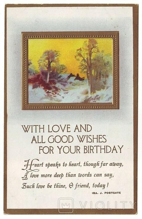 Старинная поздравительная с тиснением. С Днём Рождения! Чистая, 1900-е г., фото №2