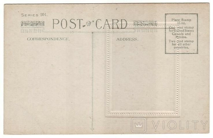 Старинная поздравительная с тиснением. С Днём Рождения! Чистая, 1900-е г., фото №3