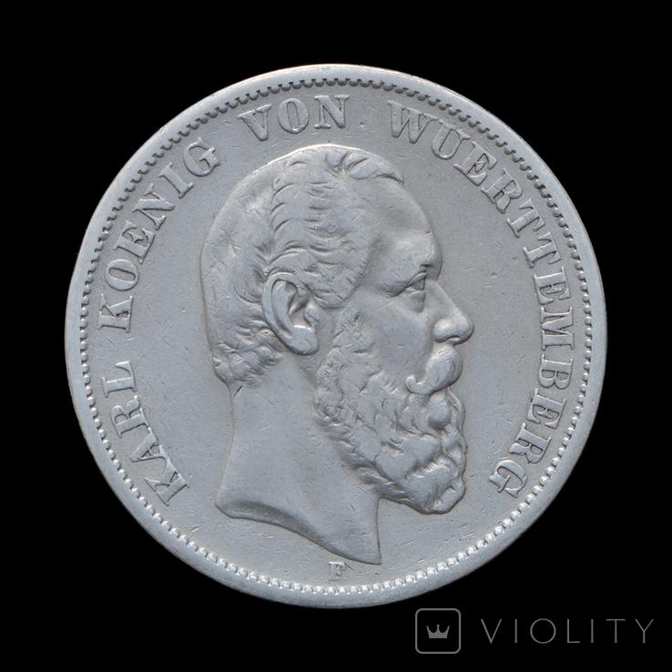 5 Марок 1875 Карл, Вюртемберг, фото №2