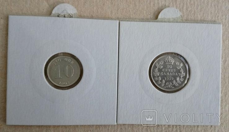 10ере1907гШвеция и 10центов1919гКанада(одним лотом)., фото №2