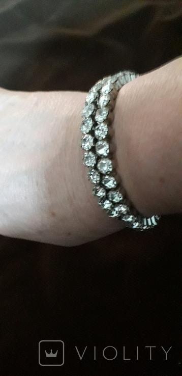 Бижутерный браслет с белыми камнями, фото №3