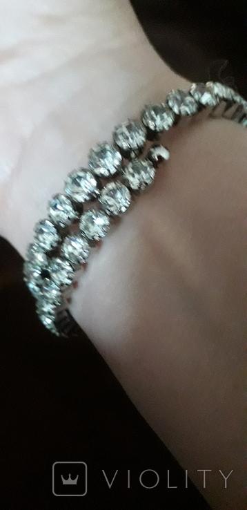 Бижутерный браслет с белыми камнями, фото №4