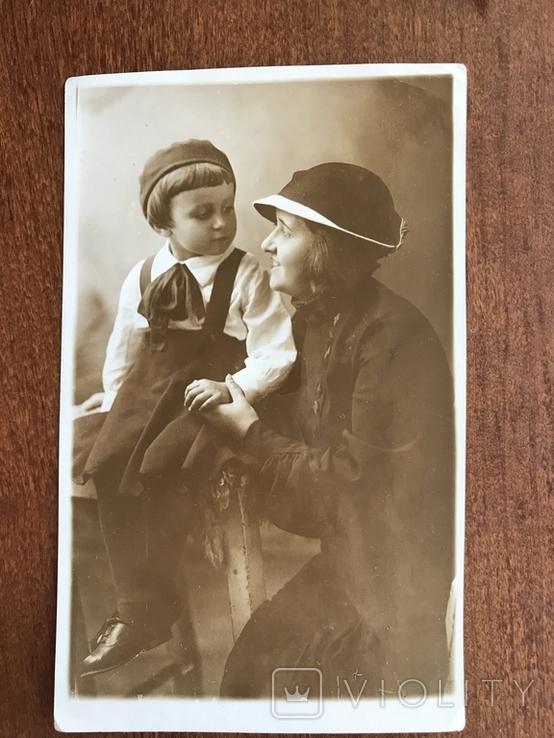 1936 Яркое фото Мама Ребёнок шляпка берет, фото №2