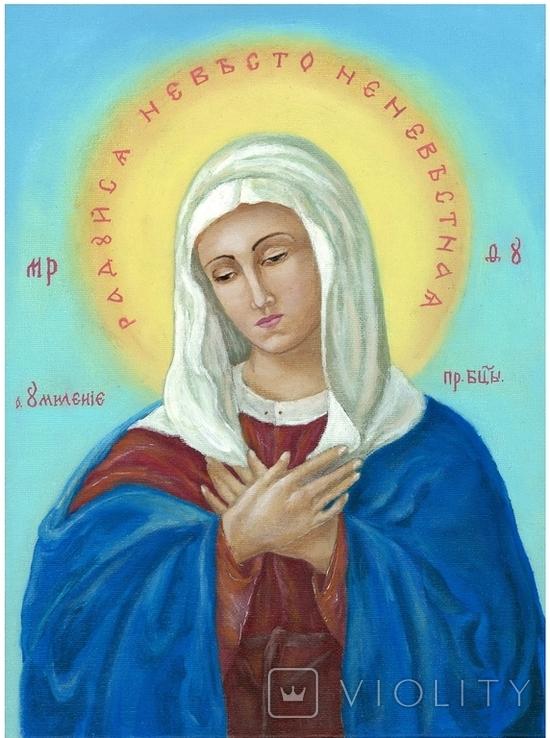 Икона маслом 30х40 Умиление Божьей Матери