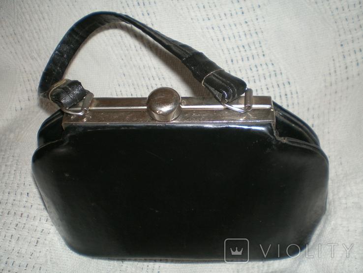Маленька чорна лакова театральна сумочка, фото №2
