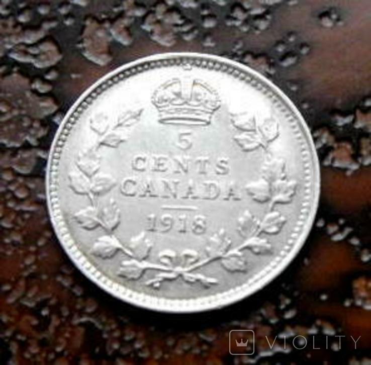 5 центов Канада 1918 состояние серебро, фото №5