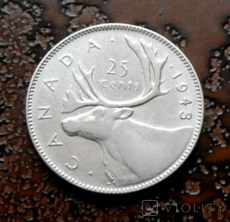 25 центов Канада 1943 состояние серебро, фото №3
