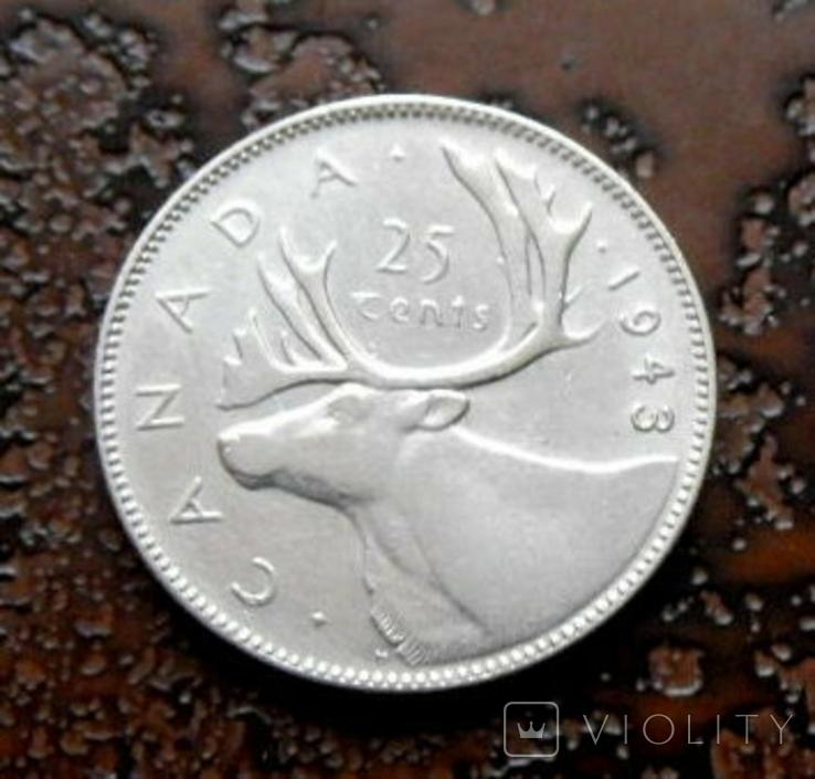 25 центов Канада 1943 состояние серебро, фото №5