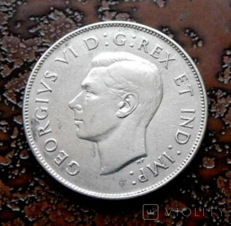 50 центов Канада 1946 состояние серебро, фото №2