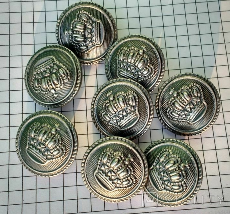 Пуговицы Корона металл 8 шт., фото №6