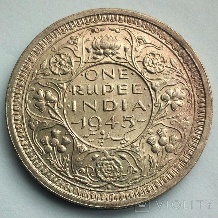 Британская Индия 1 рупия 1945 г., фото №5