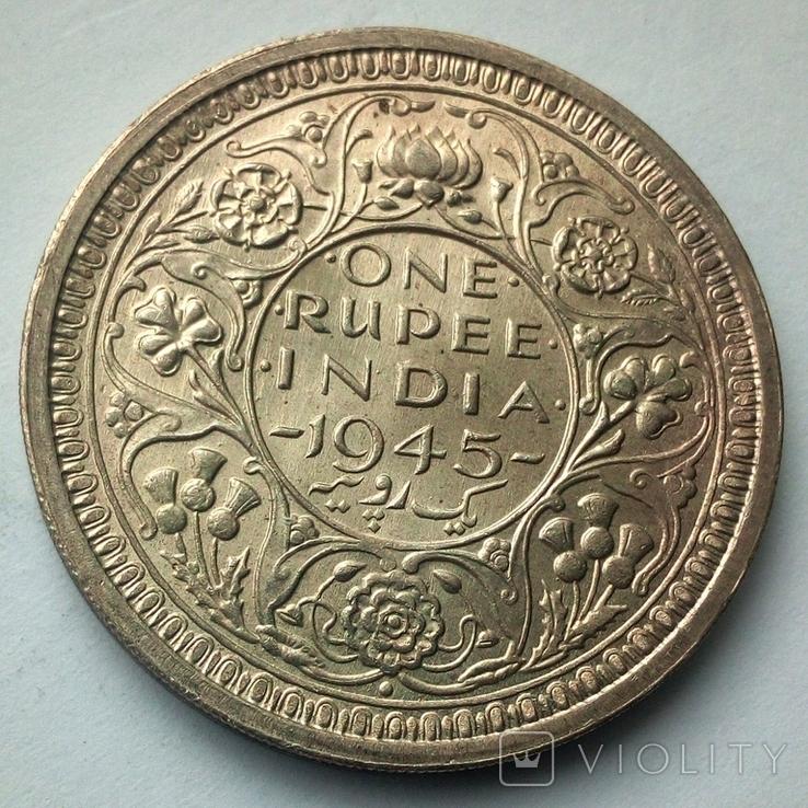 Британская Индия 1 рупия 1945 г., фото №6
