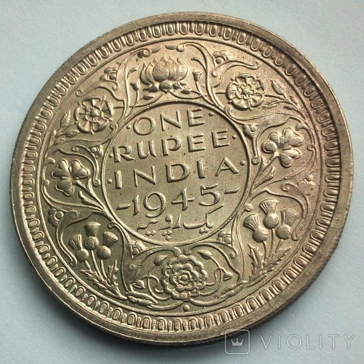 Британская Индия 1 рупия 1945 г., фото №7