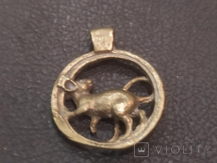Крыса кулон статуэтка миниатюра брелок бронза, фото №3