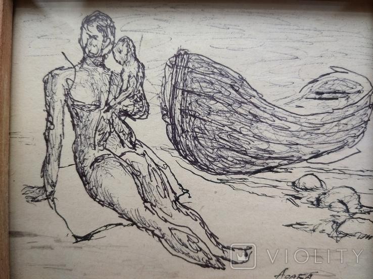 """""""На берегу"""" б.тушь. 9х11 см. Анатолий Асаба.(1943-1986), фото №4"""