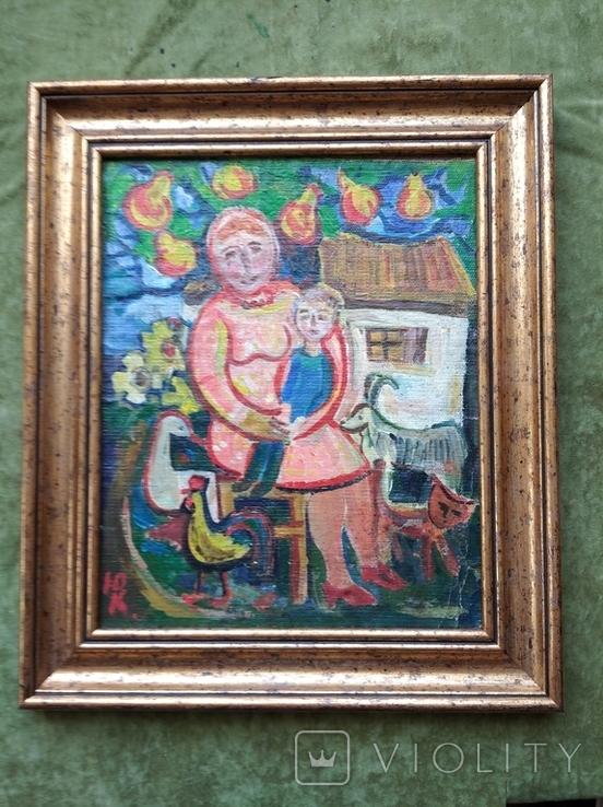 """Мама с сыночком"" х.м. 32х26. Ю.Коваленко (1931-2004), фото №2"