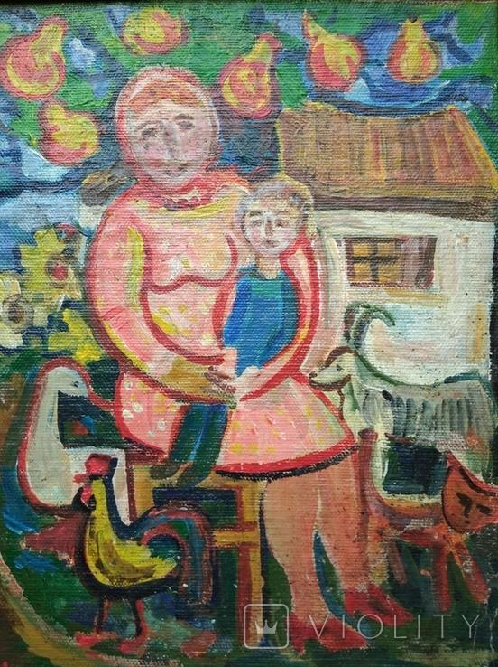 """Мама с сыночком"" х.м. 32х26. Ю.Коваленко (1931-2004), фото №4"