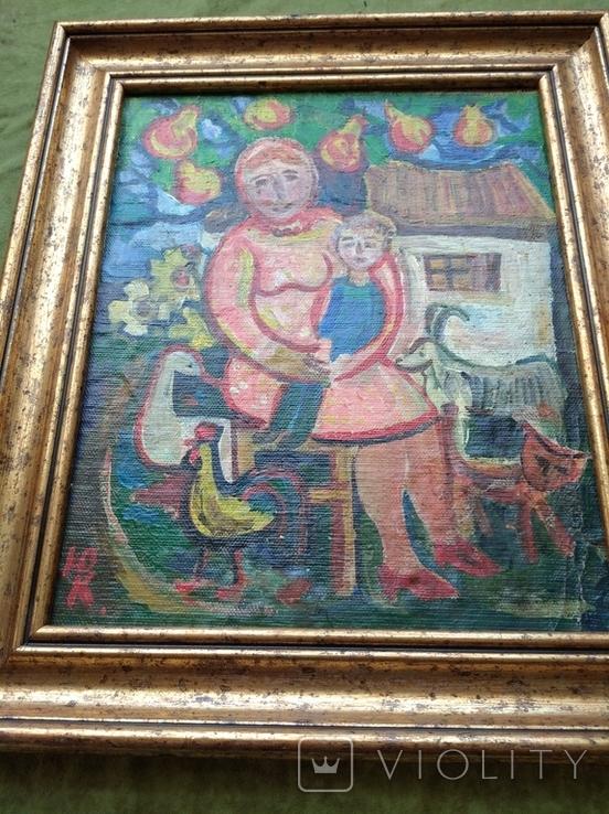 """Мама с сыночком"" х.м. 32х26. Ю.Коваленко (1931-2004), фото №9"