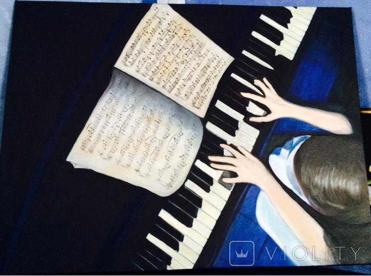 Картина масло пианист